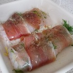 proscuitto wrapped hoki with dill