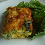 zucchini and corn self-crusting quiche