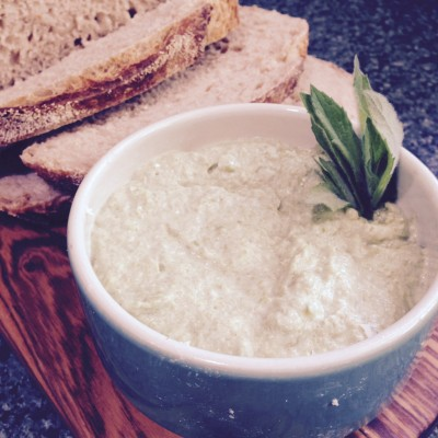 lemony broad bean and feta dip