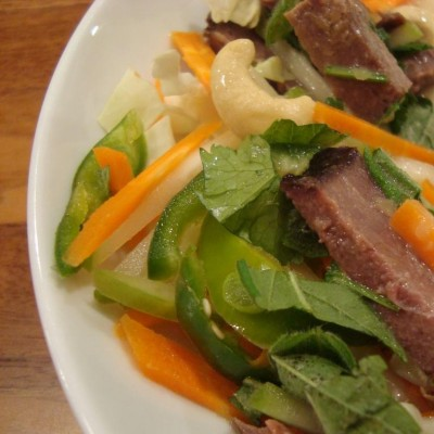 winter Thai beef salad with creamy coconut dressing