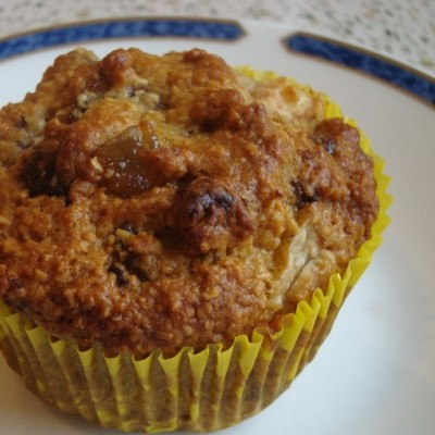 pear, ginger and chocolate bran muffins