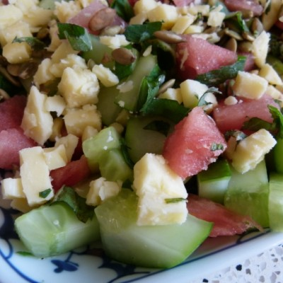 minted cucumber and watermelon salad