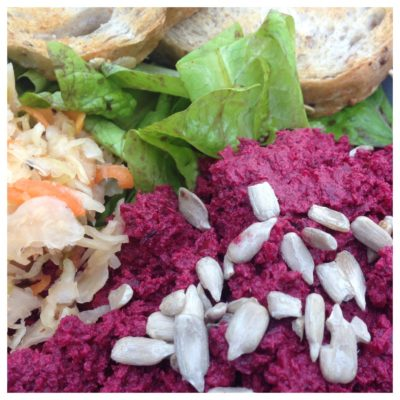 roasted beetroot and broad bean hummus