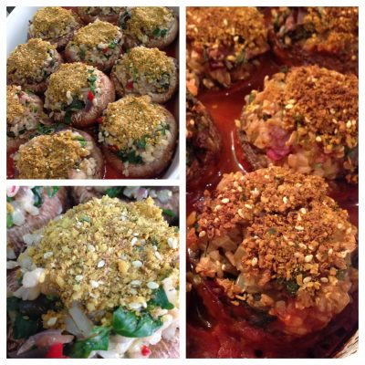 Baked brown rice stuffed portobello mushrooms