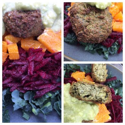 Broad bean falafels with KOB salad