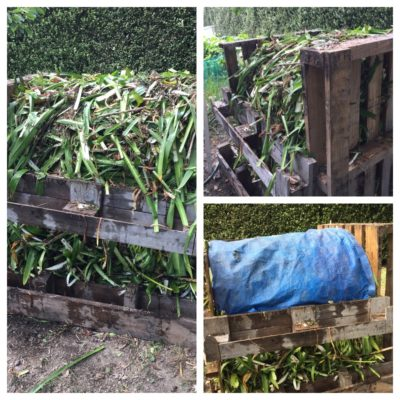 Composting large quantities of garden waste in a temporary bin