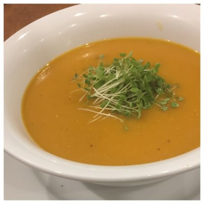 Pumpkin, lentil and carrot soup