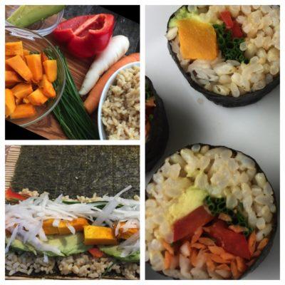 Brown rice vegetable sushi rolls