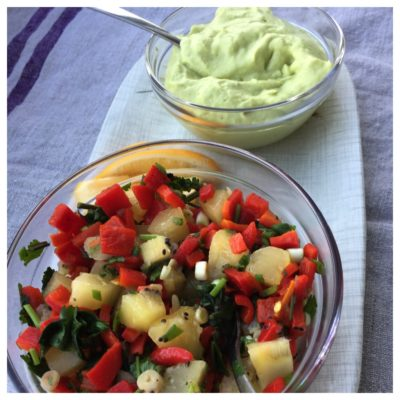 Kiwifruit and Roasted Red Pepper Salsa and Guacapplemole