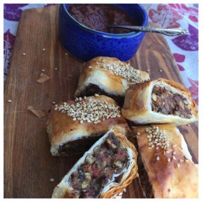 Filo lentil 'sausage' rolls